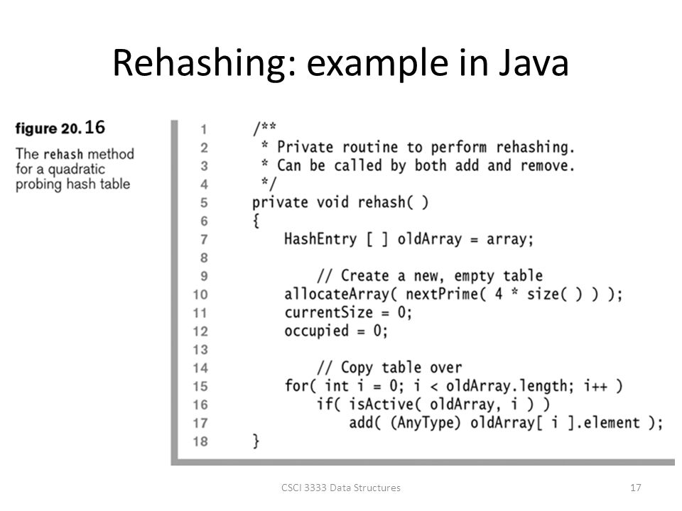 Rehashing: example in Java CSCI 3333 Data Structures17