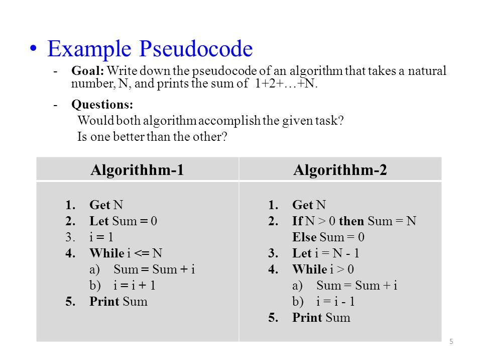 5 Example Pseudocode -Goal: Write down the pseudocode of an algorithm that takes a natural number, N, and prints the sum of 1+2+…+N. -Questions: Would