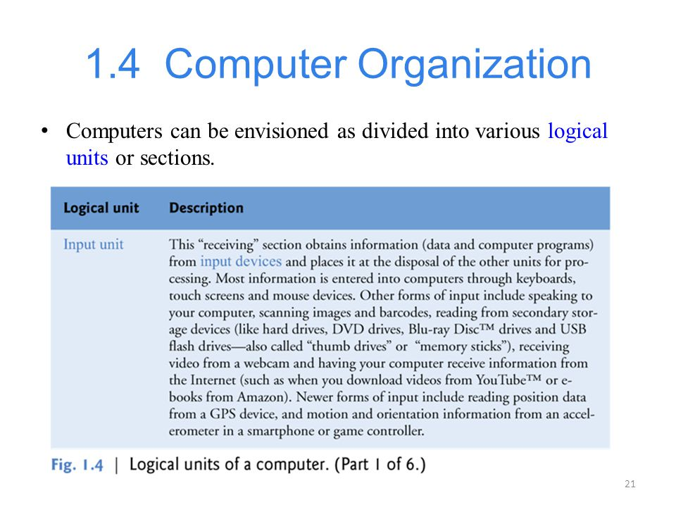 21 1.4 Computer Organization Computers can be envisioned as divided into various logical units or sections.