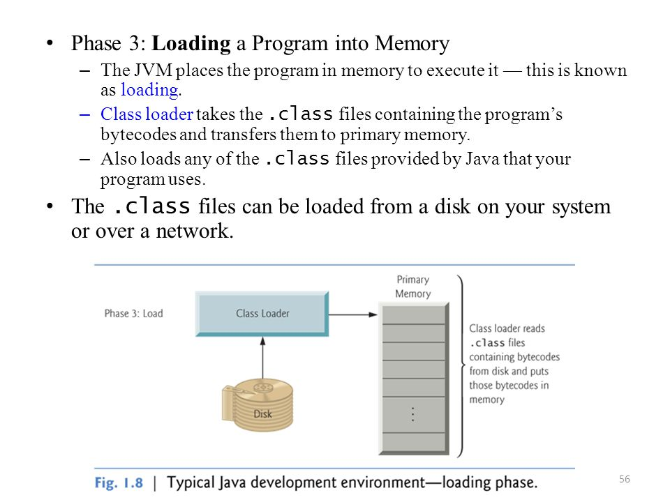 56 Phase 3: Loading a Program into Memory – The JVM places the program in memory to execute it — this is known as loading. – Class loader takes the.cl