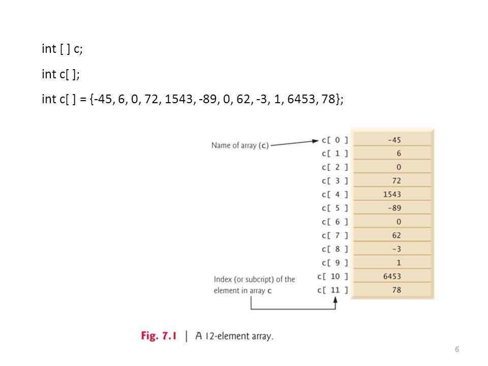 6 int [ ] c; int c[ ]; int c[ ] = {-45, 6, 0, 72, 1543, -89, 0, 62, -3, 1, 6453, 78};