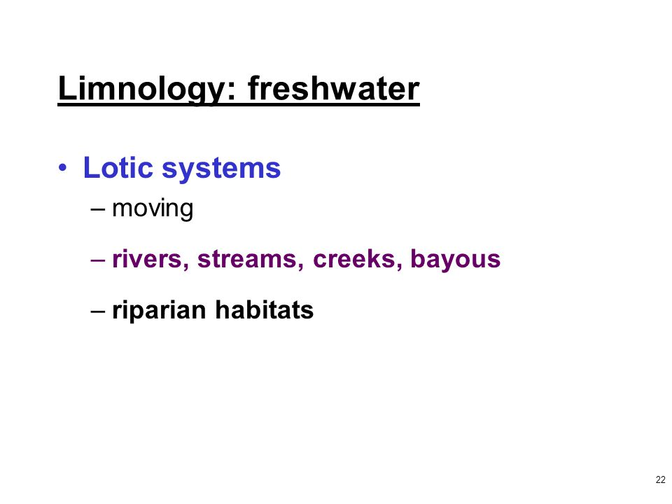 22 Limnology: freshwater Lotic systems –moving –rivers, streams, creeks, bayous –riparian habitats