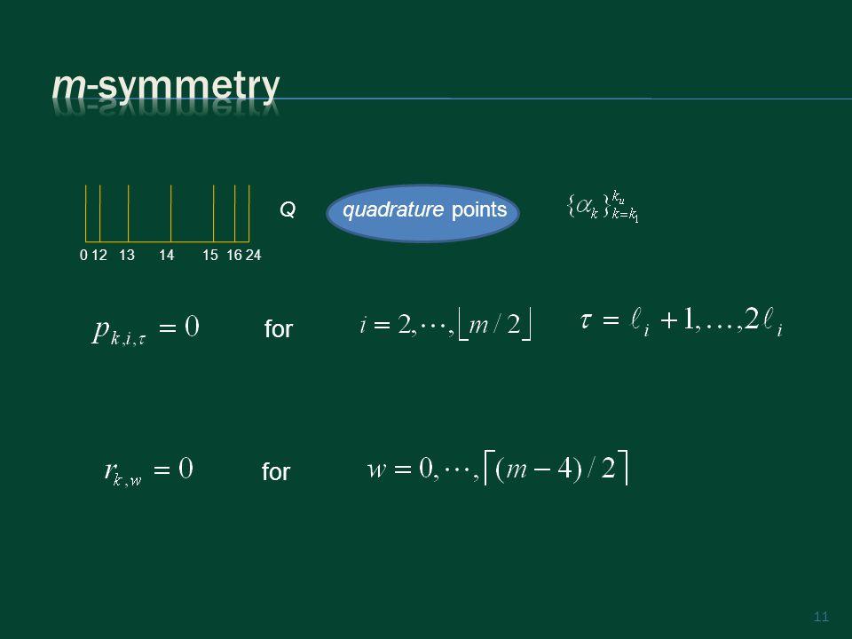 11 quadrature pointsQ for 0 12 13 14 15 16 24
