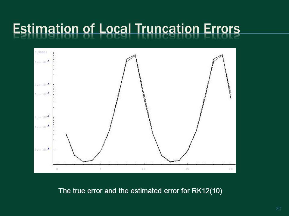 20 The true error and the estimated error for RK12(10)