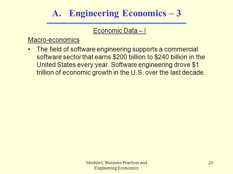 Module I. Business Practices and Engineering Economics 20 A. Engineering Economics – 3 Economic Data – I Macro-economics The field of software enginee