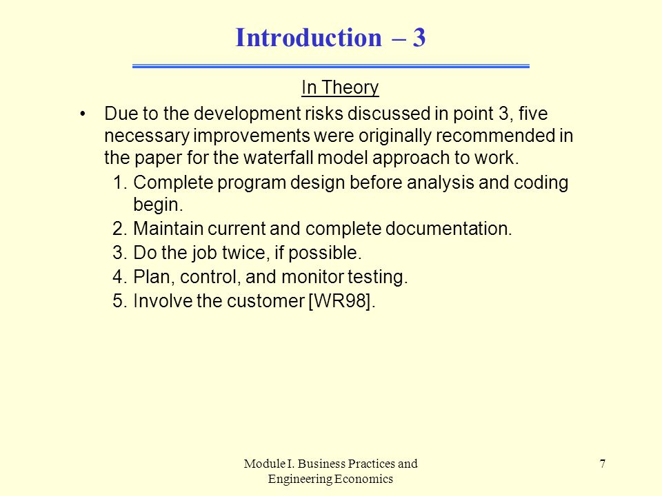 Module I.Business Practices and Engineering Economics 18 A.