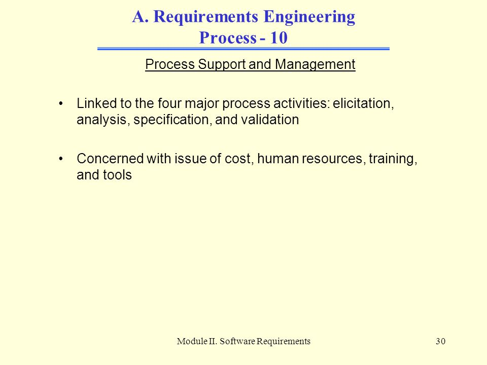 Module II. Software Requirements30 A. Requirements Engineering Process - 10 Process Support and Management Linked to the four major process activities
