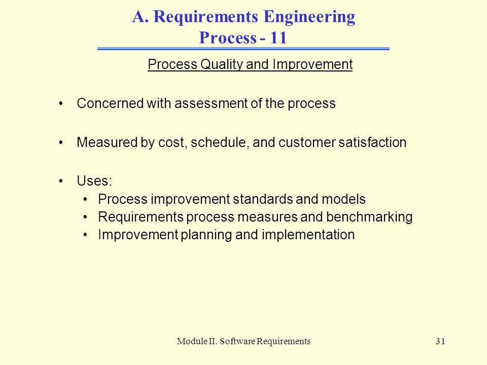 Module II. Software Requirements31 A. Requirements Engineering Process - 11 Process Quality and Improvement Concerned with assessment of the process M