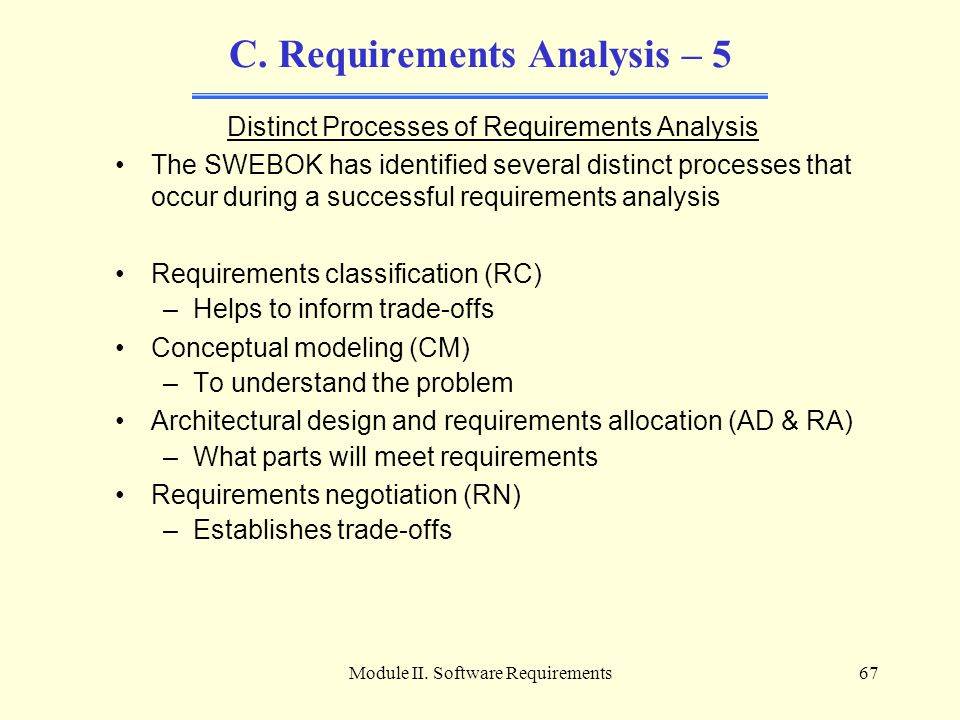 Module II. Software Requirements67 C. Requirements Analysis – 5 Distinct Processes of Requirements Analysis The SWEBOK has identified several distinct