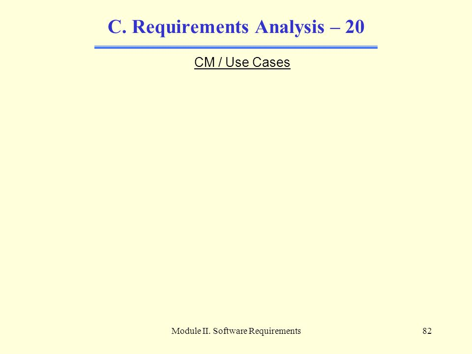 Module II. Software Requirements82 C. Requirements Analysis – 20 CM / Use Cases