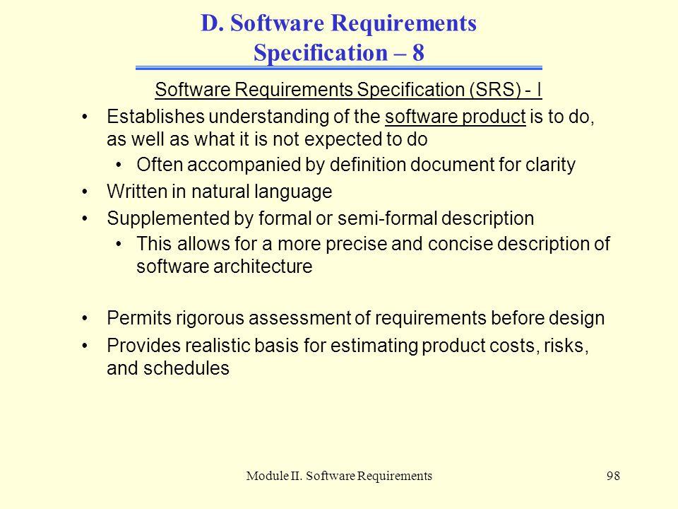 Module II.Software Requirements98 D.