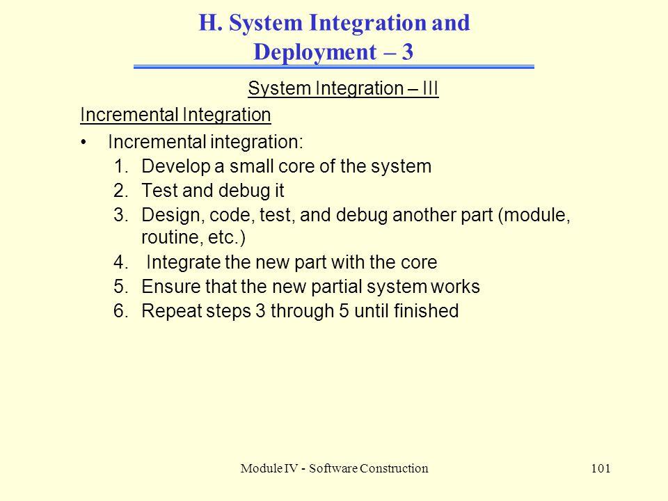 Module IV - Software Construction101 H.
