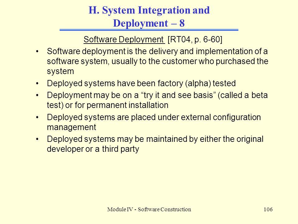 Module IV - Software Construction106 H.
