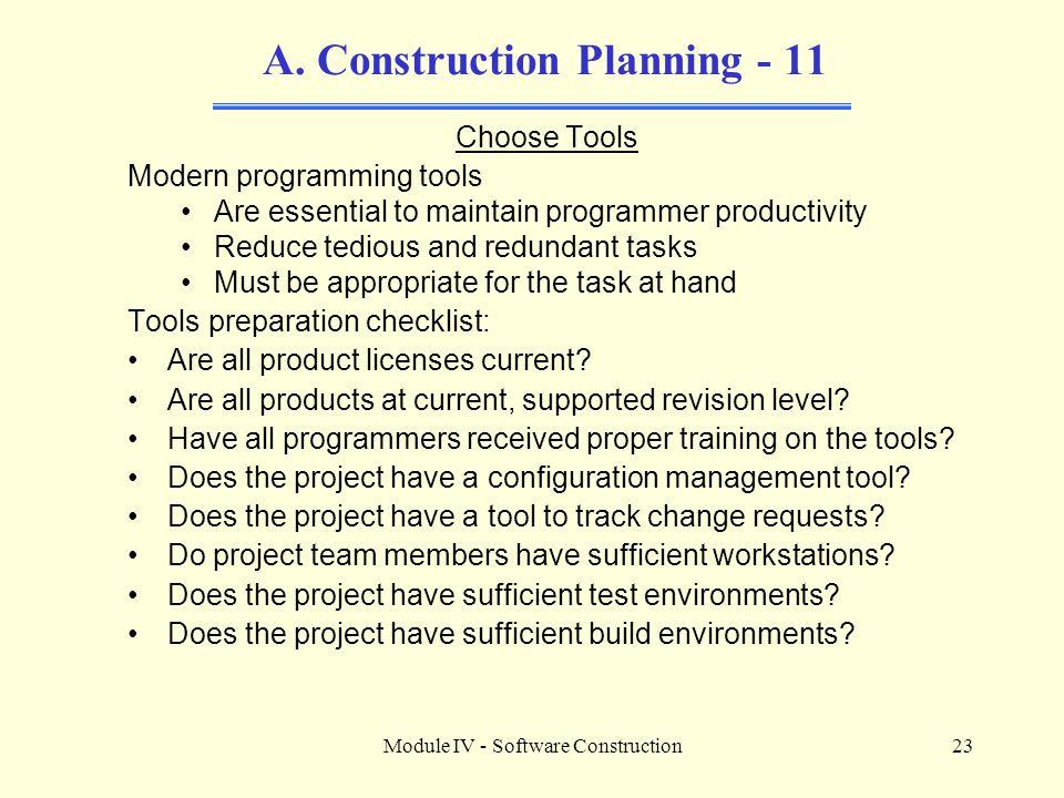 Module IV - Software Construction23 A.