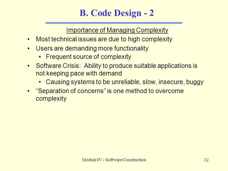 Module IV - Software Construction32 B.