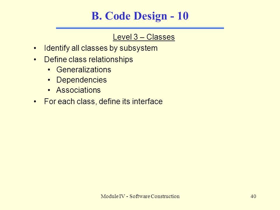 Module IV - Software Construction40 B.