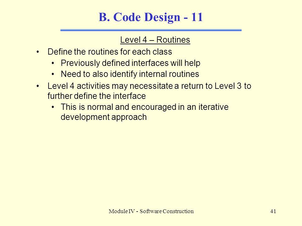 Module IV - Software Construction41 B.