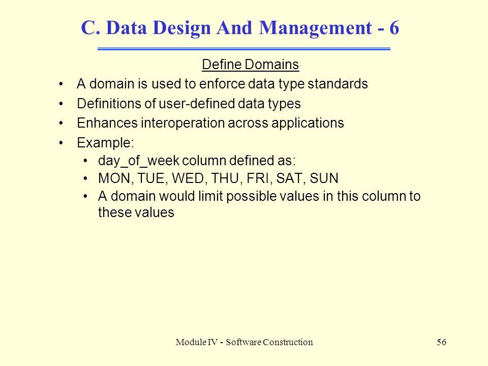 Module IV - Software Construction56 C.