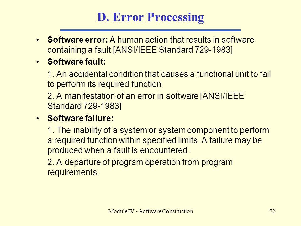 Module IV - Software Construction72 D.