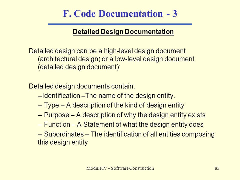 Module IV - Software Construction83 F.