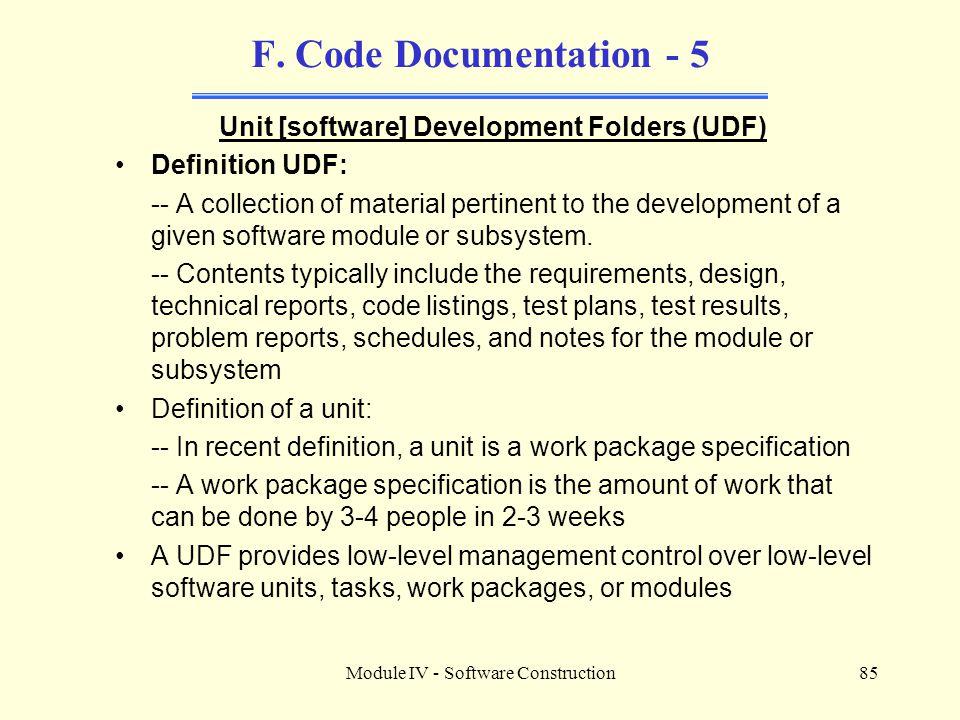 Module IV - Software Construction85 F.