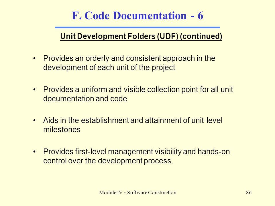 Module IV - Software Construction86 F.