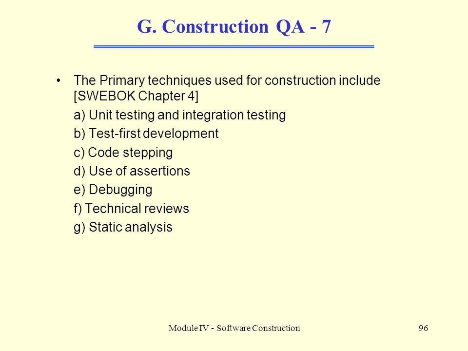 Module IV - Software Construction96 G.