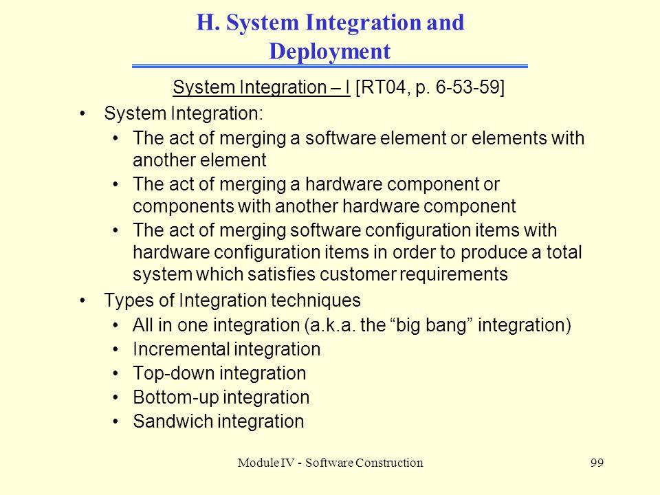 Module IV - Software Construction99 H.