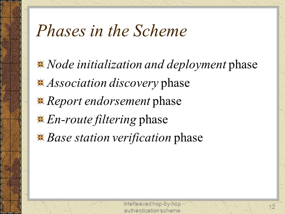 interleaved hop-by-hop authentication scheme 12 Phases in the Scheme Node initialization and deployment phase Association discovery phase Report endorsement phase En-route filtering phase Base station verification phase