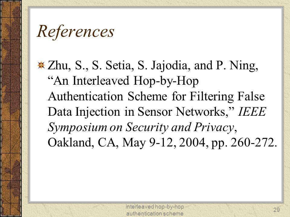 interleaved hop-by-hop authentication scheme 29 References Zhu, S., S.
