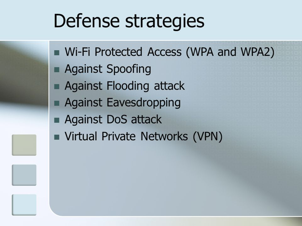 Defense strategies Wi-Fi Protected Access (WPA and WPA2) Against Spoofing Against Flooding attack Against Eavesdropping Against DoS attack Virtual Pri