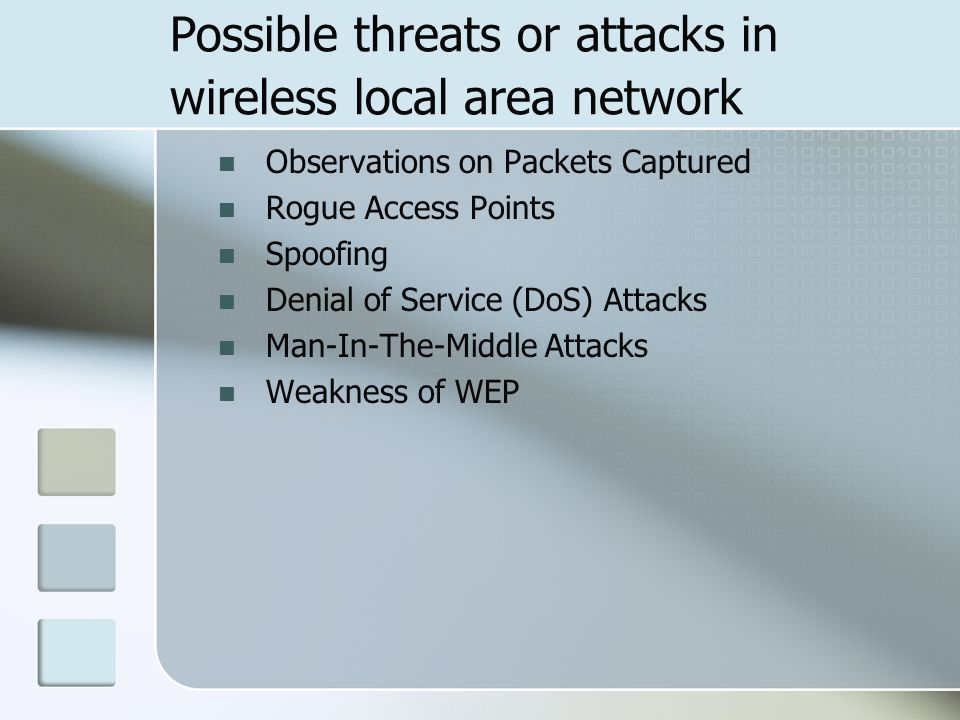 Possible threats or attacks in wireless local area network Observations on Packets Captured Rogue Access Points Spoofing Denial of Service (DoS) Attacks Man-In-The-Middle Attacks Weakness of WEP