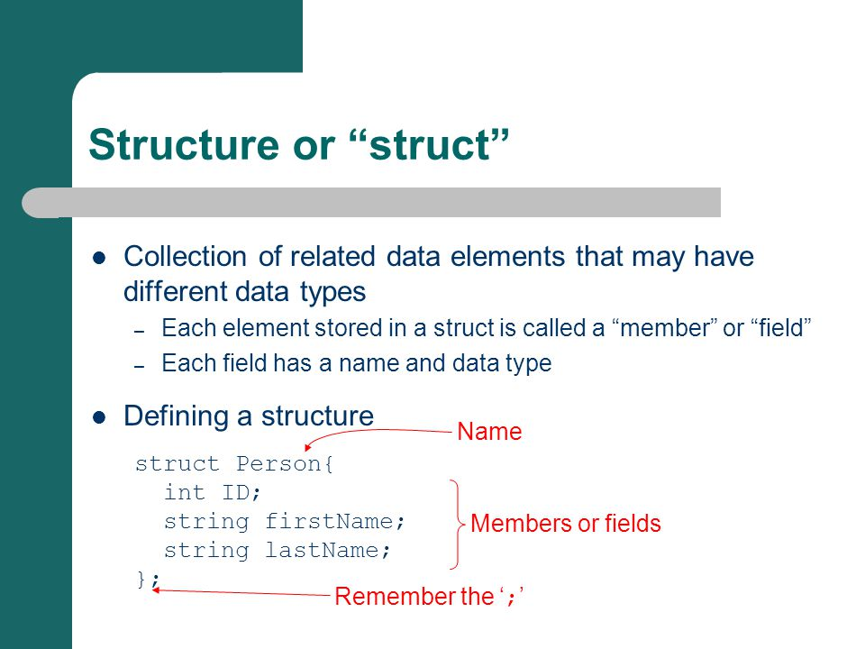 "Collection of related data elements that may have different data types – Each element stored in a struct is called a ""member"" or ""field"" – Each field"
