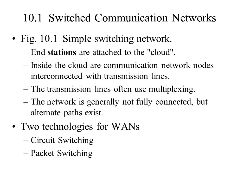10.1 Switched Communication Networks Fig. 10.1 Simple switching network. –End stations are attached to the