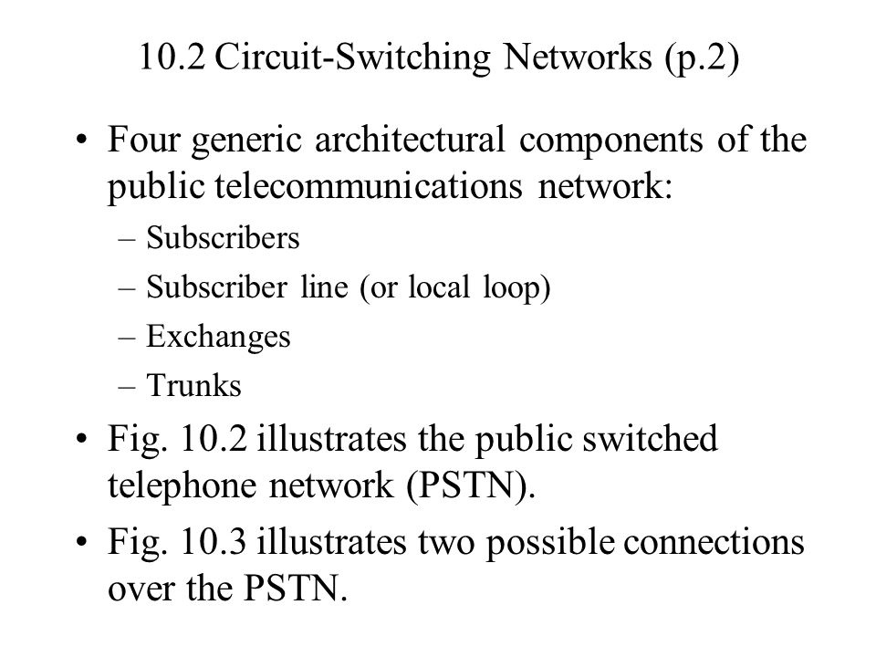10.3 Circuit-Switching Concepts Fig.10.4 Elements of a Circuit-Switch Node –Digital Switch Provides a transparent signal path between any pair of attached devices.