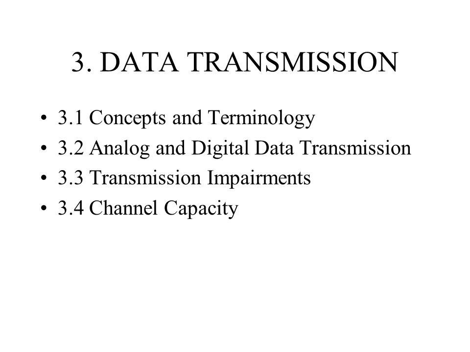 3.1 Transmission Terminology Data transmission occurs over some transmission medium.