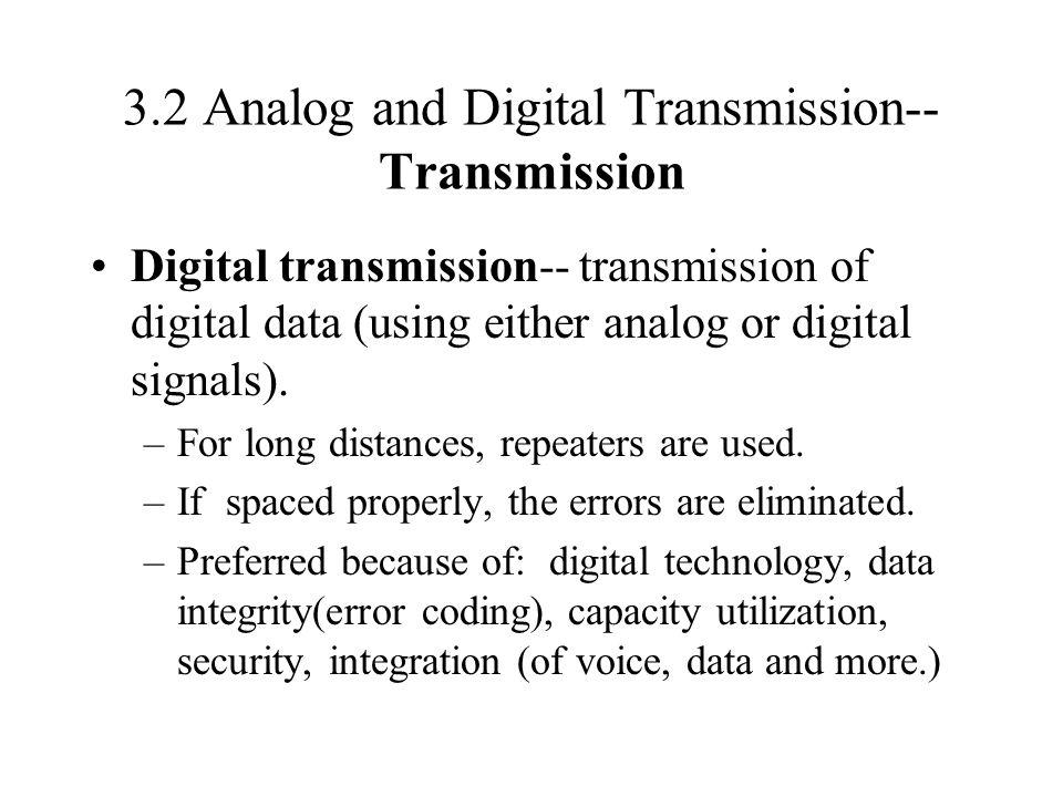 3.2 Analog and Digital Transmission-- Transmission Digital transmission-- transmission of digital data (using either analog or digital signals). –For