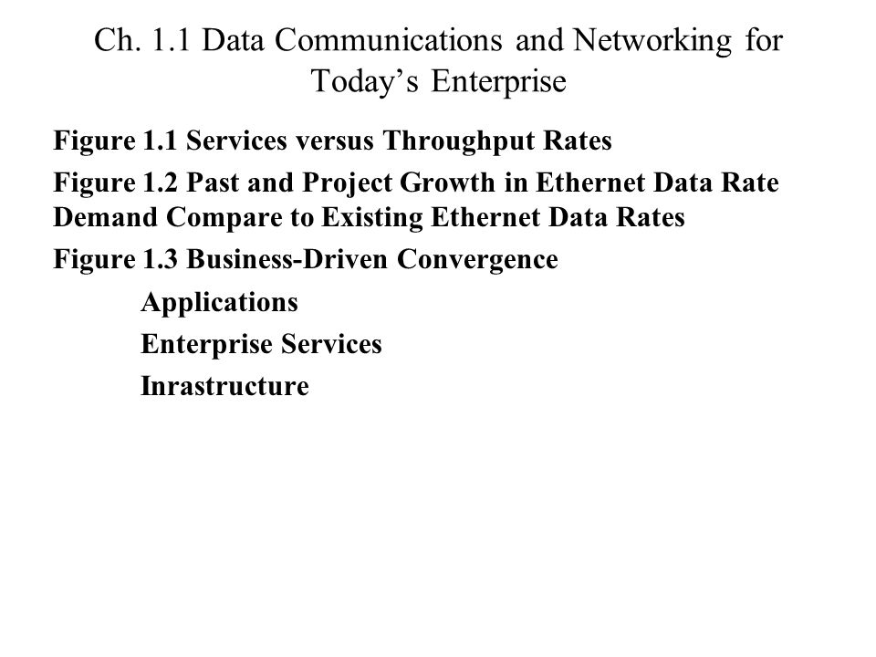 Ch. 1.1 Data Communications and Networking for Today's Enterprise Figure 1.1 Services versus Throughput Rates Figure 1.2 Past and Project Growth in Et