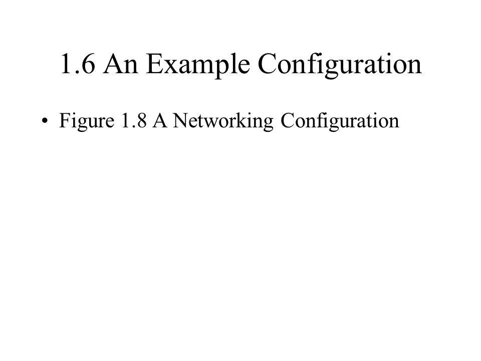 1.6 An Example Configuration Figure 1.8 A Networking Configuration