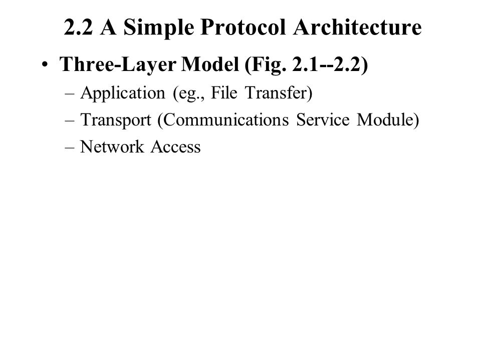 2.2 A Simple Protocol Architecture Three-Layer Model (Fig.