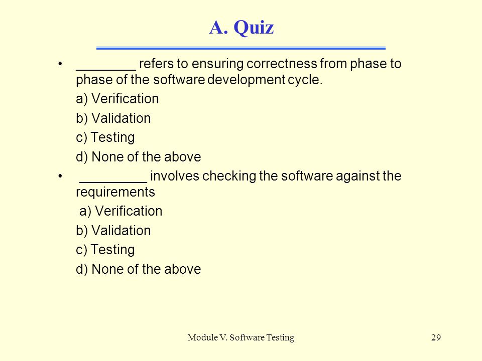 Module V. Software Testing28 A. References [SW04] Guide to the Software Engineering Body of Knowledge - Chapter 5 [IEEE Std 610.12-1990]