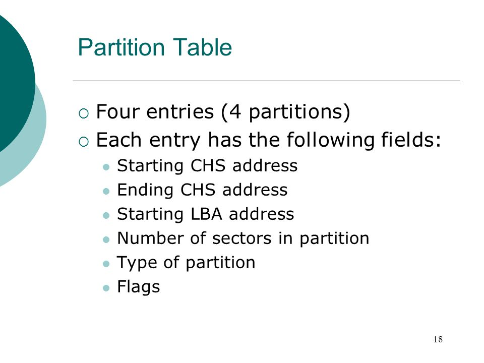Partition Table  Four entries (4 partitions)  Each entry has the following fields: Starting CHS address Ending CHS address Starting LBA address Numb