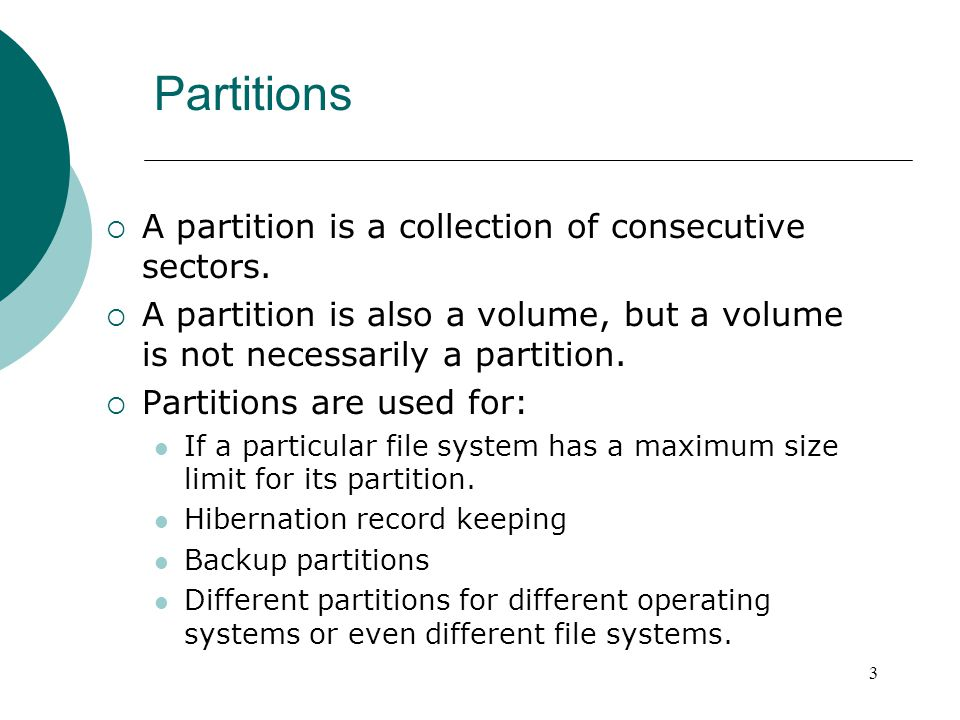 Extracting Partition Data  dd can be used to extract exactly which sectors you want from a disk: dd if=disk1 of=part1 bs=512 skip=63 count=1928097 if – input file (original disk) of – output file (file to contain recovered partition) bs – block size (default is 512) skip – number of blocks of size bs to skip over at the beginning count – number of blocks to copy 14