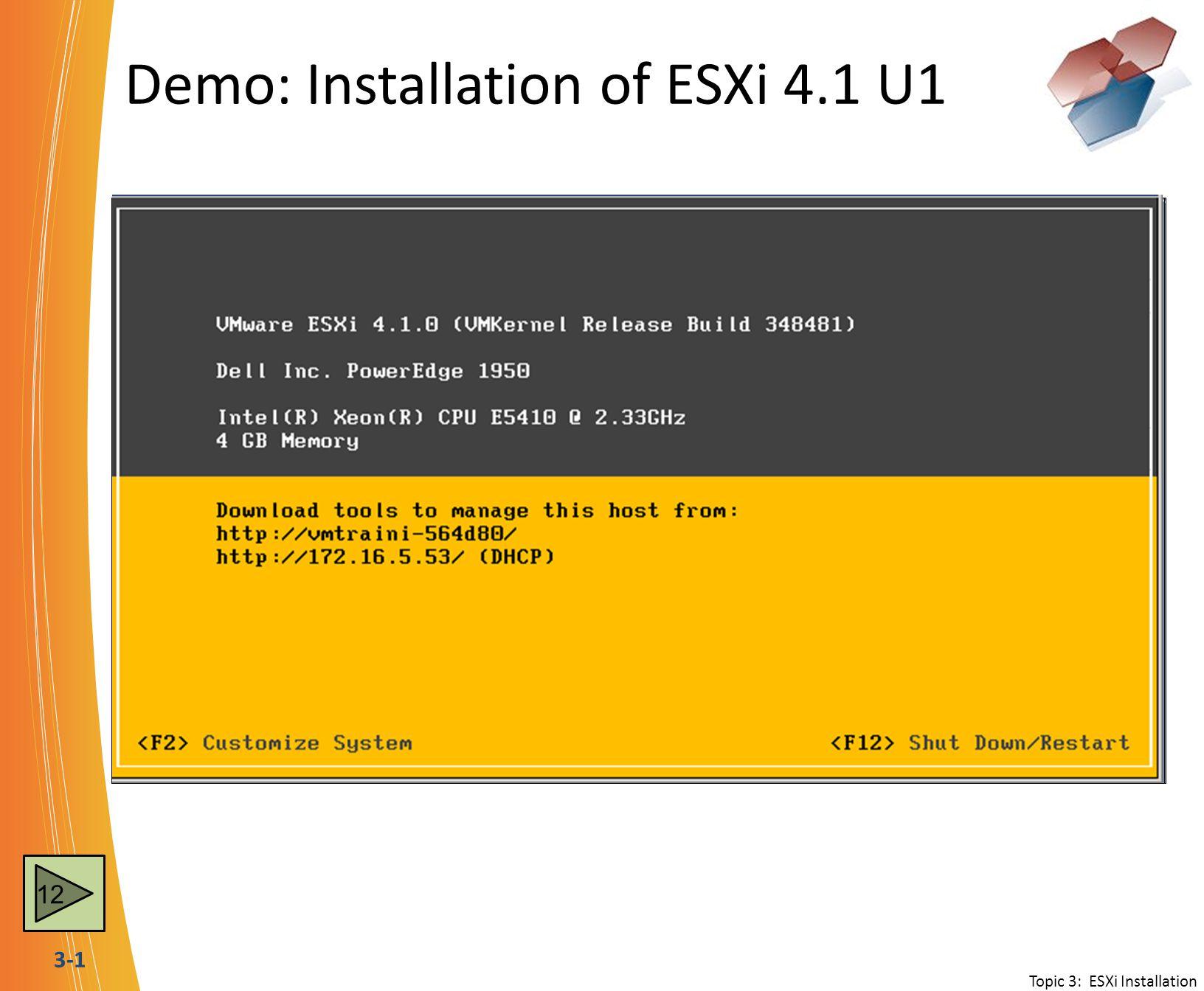 3-1 Demo: Installation of ESXi 4.1 U1 Topic 3: ESXi Installation 12