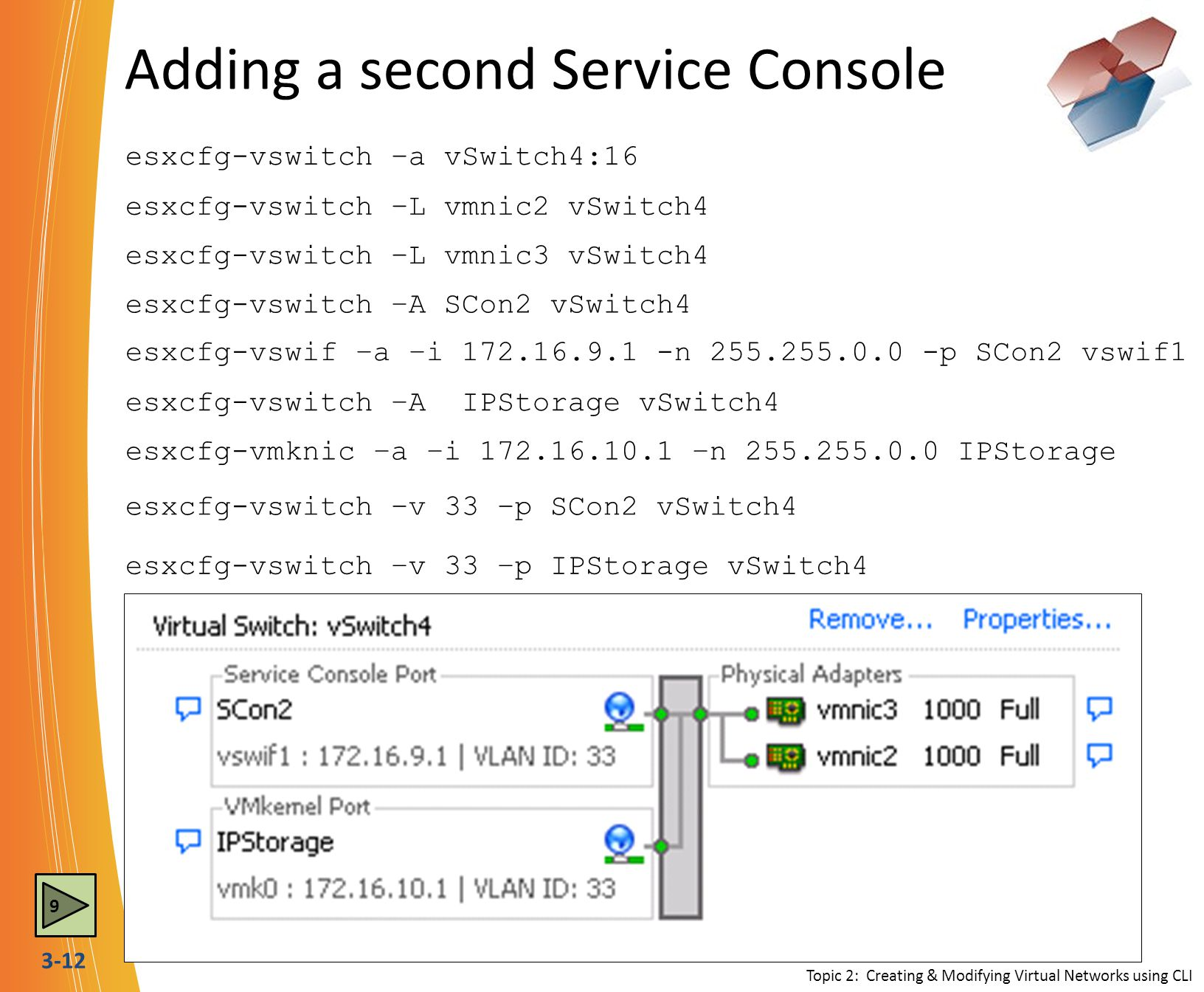 3-12 Adding a second Service Console esxcfg-vswitch –L vmnic2 vSwitch4 esxcfg-vswitch –L vmnic3 vSwitch4 esxcfg-vswif –a –i 172.16.9.1 -n 255.255.0.0