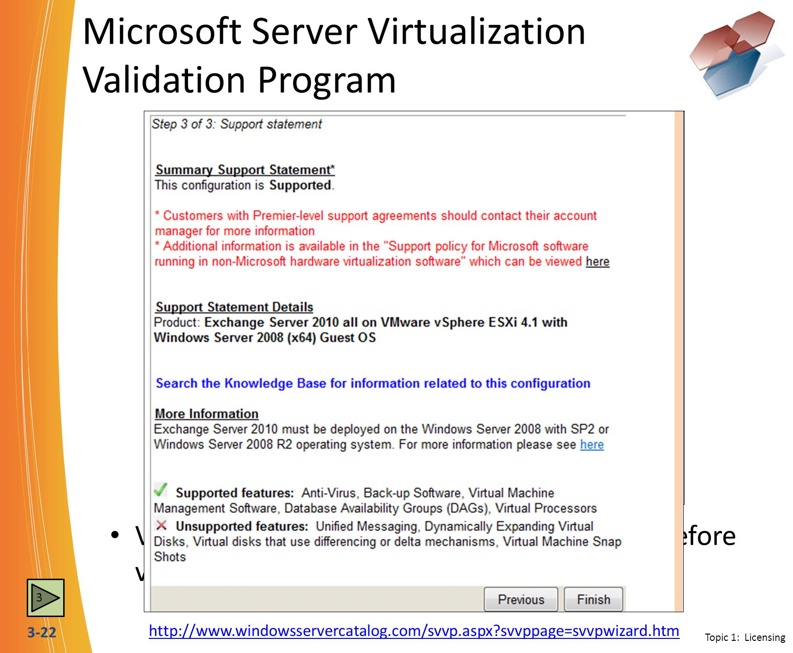 3-22 Microsoft Server Virtualization Validation Program Topic 1: Licensing Validate Microsoft Server Apps for Support before virtualizing them with vS