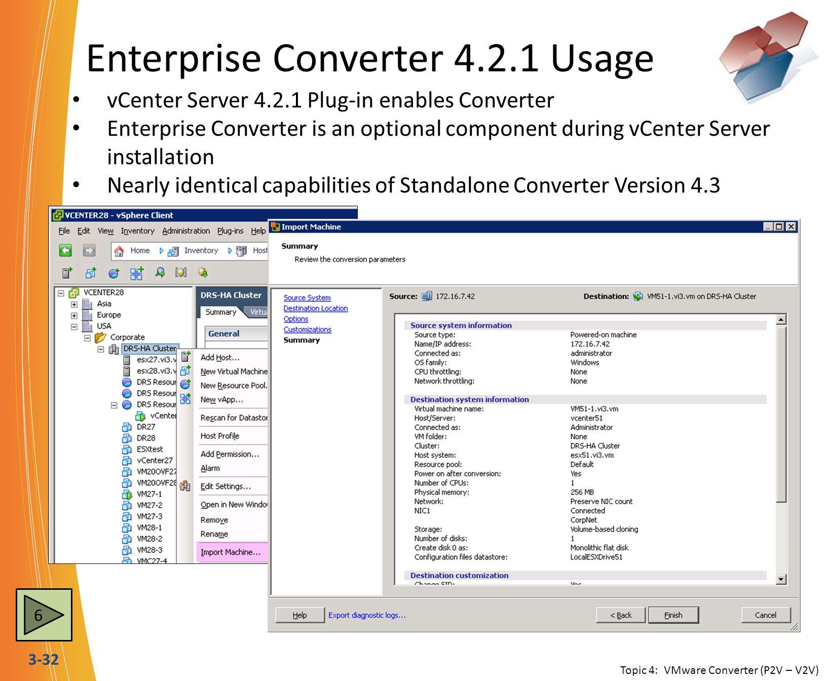 3-32 Enterprise Converter 4.2.1 Usage vCenter Server 4.2.1 Plug-in enables Converter Enterprise Converter is an optional component during vCenter Serv