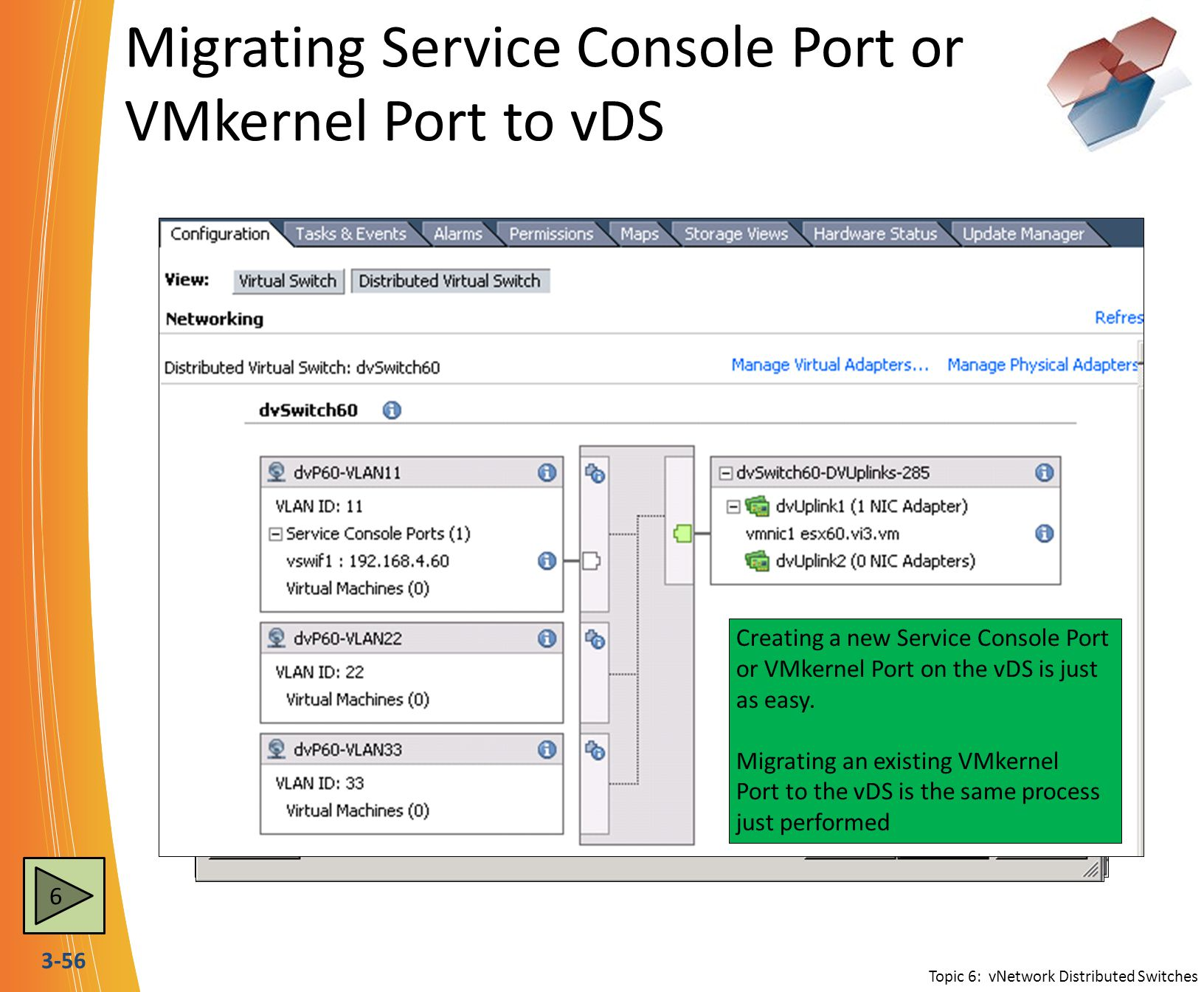 3-56 Migrating Service Console Port or VMkernel Port to vDS 6 Topic 6: vNetwork Distributed Switches New Virtual Adapter allows the creation of a new