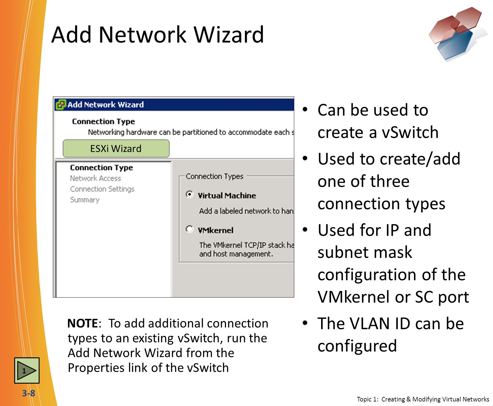 3-8 Add Network Wizard Can be used to create a vSwitch Used to create/add one of three connection types Used for IP and subnet mask configuration of t