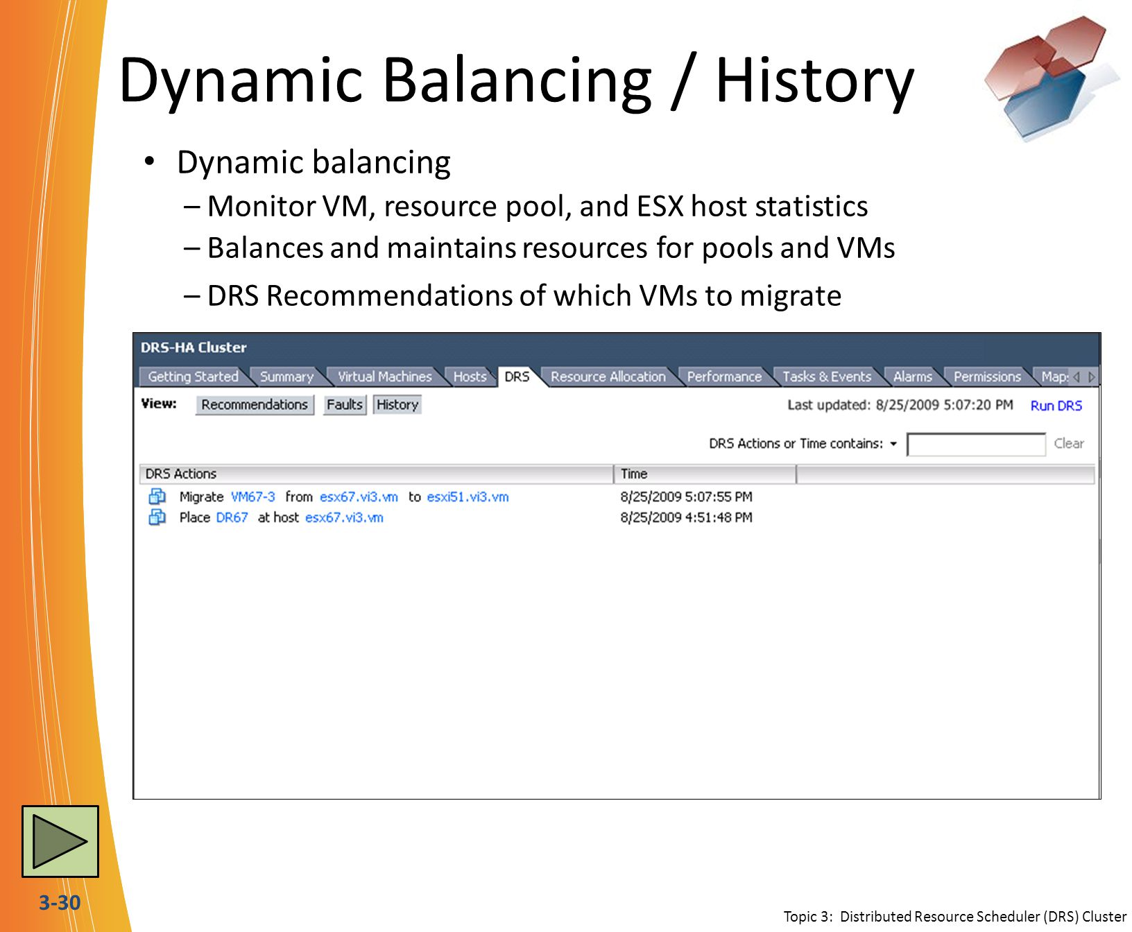 3-30 Dynamic Balancing / History Dynamic balancing –Monitor VM, resource pool, and ESX host statistics –Balances and maintains resources for pools and VMs –DRS Recommendations of which VMs to migrate Topic 3: Distributed Resource Scheduler (DRS) Cluster